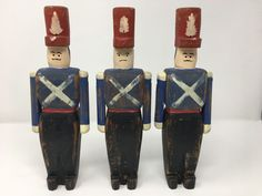 Vintage Hand Crafted Wooden Wolf Creek Soldiers Set of Three Artist Signed 1988