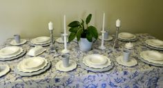 Divermenti table setting- French Blue/grey and white - such a pretty setting.