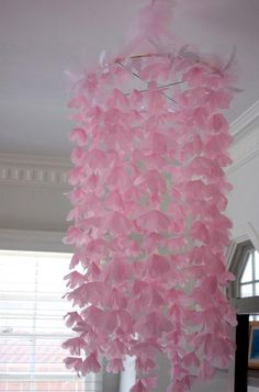 DIY Home Decor: DIY Home DIY Decor DIY Crafts: Chiffon and Tulle Flower Chandelier- but do whole section of ceiling