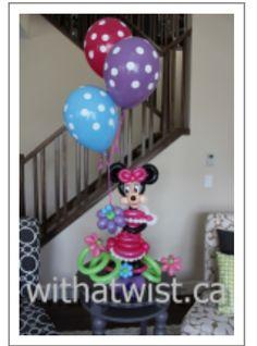 Minnie Mouse balloon centerpiece., #balloon #Disney #art #balloon #Disney #sculpture #balloon #Disney #twist #balloon #disney #column #balloon #disney #characters #balloon #disney #arch #balloon #Minnie-mouse #art #sculpture #twist #balloon #Mickey-mouse #art #sculpture #twist #balloon #Donald-duck #sculpture #art #twist #balloon #daffy-duck #sculpture #art #twist #balloon #goofy #sculpture #art #twist