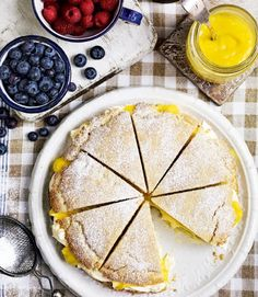 American shortcake with lemon curd and clotted cream
