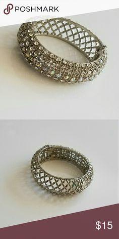 Silver Crystal bracelet Crystal hinge bracelet. Lattice design with crystals on one side. Jewelry Bracelets