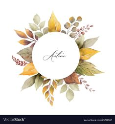 Watercolor autumn frame with leaves and vector image on VectorStock Watercolor Projects, Wreath Watercolor, Watercolor Leaves, Watercolor Cards, Watercolor Flowers, Watercolor Paintings, Autumn Painting, Autumn Art, Autumn Theme