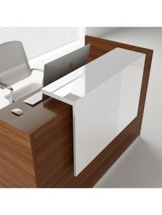 TERA L-Shape Large Reception Desk w/2 Light Panels, Canadian Oak by MDD Office Furniture