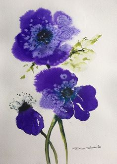 Aquarelle Originale Dam Domido Anémones Fleurs Flower Akoun watercolor
