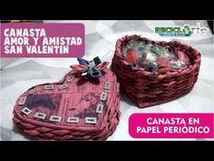 #DIY CANASTA CORAZÓN EN PAPEL PERIÓDICO - BASKET PAPER HEART IN NEWSPAPER - YouTube
