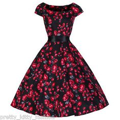 d1aece7e Details about PRETTY KITTY 40s 50s BLACK RED ROSE VINTAGE TEA ROCKABILLY  SWING PROM DRESS 8-24