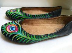 Black Peacock Flats on Etsy, $35.00