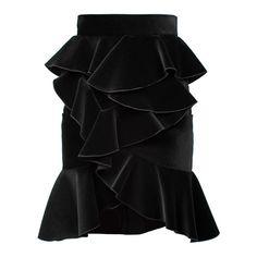 BALMAIN Velvet Flounced Skirt Black ($395) ❤ liked on Polyvore featuring skirts, bottoms, balmain, frilled skirt, velvet skirt, balmain skirt, flouncy skirt and frilly skirt