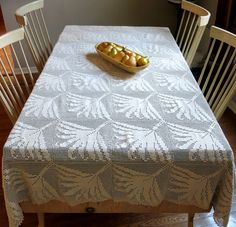 Hand Crocheted Palm Leaf Tablecloth Coverlet Large by CoconutRoad