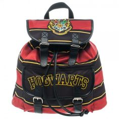 """Harry Potter Hogwarts Knapsack: Perfect for toting textbooks, potions, and anything else you might need to make magic happen. Features one front pocket, one main compartment with zippered pouch, adjustable straps and magnetic snap flap closures, with the Hogwarts School of Witchcraft and Wizardry crest on top, including the motto """"Draco dormiens nunquam titillandus,"""" or, """"Never tickle a sleeping dragon."""""""