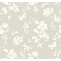 AB1996 - Ashford House Black & White Scenic Vines Silver Wallpaper