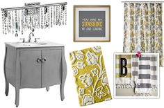 paint my ugly brown cabinet..........Yellow and grey bathroom