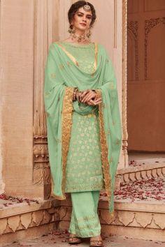 Siya Fashion Beautiful Pista Green Color Banarasi Jacquard With Palazzo Suit Style Palazzo, Palazzo Suit, Salwar Suits Online, Salwar Kameez Online, Pakistani Suits, Pakistani Dresses, Punjabi Suits, Art Marron, Costumes Anarkali
