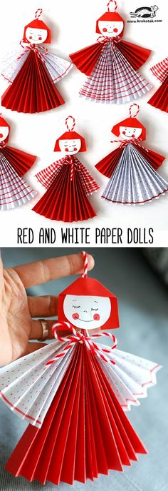 Red and White Paper Dolls Christmas Crafts For Kids, Xmas Crafts, Fun Crafts, Christmas Diy, Paper Crafts, Paper Doll Craft, Snail Craft, Art N Craft, Paper Toys