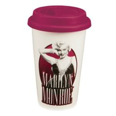 Vandor Marilyn Monroe 12-Ounce Double Wall Ceramic Travel Mug with Silicone Lid, Pink, Black and White by Vandor, LLC, http://www.amazon.com/dp/B007KTE0ZK/ref=cm_sw_r_pi_dp_gvcmrb1FDPB8M