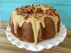 Spoonful of Flour: Apple Cream Cheese Bundt Cake with Praline Frosting