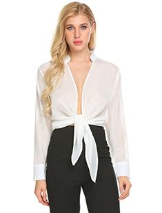 178919a24d1 online shopping for Locryz Women s Sexy Front Open Long Sleeve Chiffon Sheer  Shirt Tops from top store. See new offer for Locryz Women s Sexy Front Open  ...