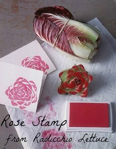 Rose stamp with radicchio lettuce http://botanicalbrouhaha.blogspot.co.uk/2013/06/working-designer-wednesday.html https://www.facebook.com/DIYProjects