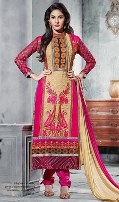 You can be confident to make a powerful fashion statement with this beige and pink embroidered georgette churidar suit. The beautiful butta, lace, patch, resham and stones work a considerable feature of this attire. #BreathtankinglyLovelyLongCutChuridarSuit
