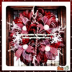 Custom Christmas Andy canes and snowflakes deco mesh wreath for a customer