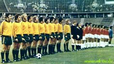 Chile 0 Australia 0 in 1974 at the Olympiastadion in West Berlin. The teams line up before kick off in Group 1 at the World Cup Finals.