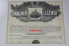 Vintage Embalmers License Mortician Funeral Oddity Embalming Halloween Decor Copy
