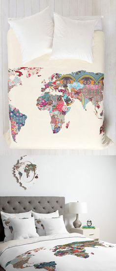 World Map Patchwork Duvet // 25 Gifts for the Travel Obsessed