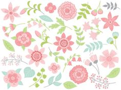 ITEM: Flowers #Clipart - #Digital #Vector Flowers, Wedding, Pink, Leaves, Floral Clip Art for Personal and Commercial Use  WHAT INCLUDED: 35 PNG files (transparent background,... #thecreativemill #clipart #digital #vector #flowers #wedding #floral