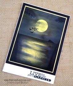 Moonlit Waters 007 - with written tutorial; no step-by-step pics tho Card Making Tutorials, Card Making Techniques, Making Ideas, Nautical Cards, Beach Cards, Watercolor Cards, Sympathy Cards, Masculine Cards, Copics