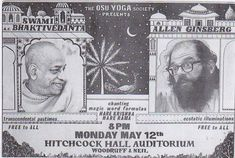 By Chintamani dasi What is this? Oh my, Srila Prabhupada appearing with Allen Ginsberg? On the same stage? How is it possible? It was true. We put these posters all over the Ohio State Univer…