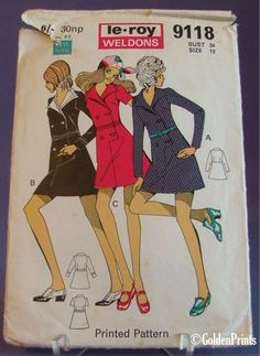 70s Vintage Retro Dress Sewing Pattern mini double breasted 34  bust Mod GoGo