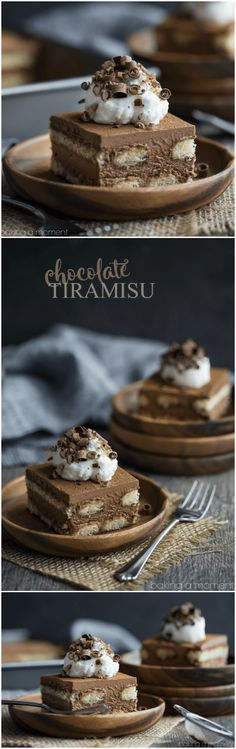 Best ever spin on the classic no-bake Italian dessert- this version has no coffee or booze, just CHOCOLATE! Perfect for the whole family to enjoy, and it feeds a crowd! (No Bake Chocolate Desserts) Chocolate Tiramisu, Tiramisu Dessert, Oreo Dessert, Chocolate Desserts, Chocolate Pudding, Italian Desserts, Mini Desserts, Just Desserts, Delicious Desserts