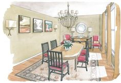 interior design, dining room, sketch, concept