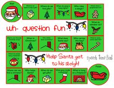 Speech Time Fun: Wh-Question Christmas Board Game Freebie! Pinned by SOS Inc. Resources. Follow all our boards at pinterest.com/sostherapy/ for therapy resources.
