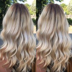 In love with this creamy blonde/dark root effect.