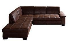 Diese klassische Polsterecke bietet viel Platz zum Entspannen und Wohlfühlen.  Der Bezug aus 80 % Polyester und 20 % Baumwolle aus trendigem Kunstleder in Wildleder-Optik ist sowohl angenehm weich im Griff als auch sehr strapazierfähig. Die Ottomane ist sowohl rechts als auch links (davorstehend) erhältlich, somit ist das Möbel für fast jeden Raum geeignet. Durch die aufwendige Steppung im Sitz...
