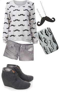 Who Said A Girl Cant Have A Mustache by simoneraina on Polyvore
