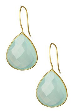 18K Gold Plated Faceted Aqua Chalcedony Drop Earrings by Saachi on @HauteLook
