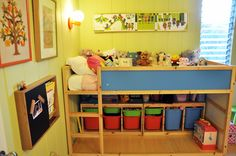 Ikea Kura bed with storage units underneath. Could add tension rod and curtains to hide storage. From the boo and the boy: Isabella's room redo.in progress Loft Bed Storage, Under Bed Storage, Toy Storage, Storage Units, Ikea Storage, Storage Ideas, Modern Toy Boxes, Kura Bed, Kids Bunk Beds