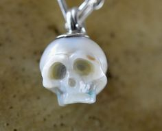 Carved Pearl Skull Necklace  Multicolor Pearl  by ArloEdgeWalker