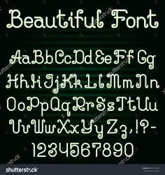 Beautiful curly #font. #Alphabet of ornate capital and lowercase #letters with digits and punctuation marks.