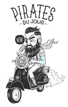 Pirates du jour - Illustration by Chris Lago Illustration Vector, Character Illustration, Graphic Design Illustration, Graphic Art, Hipster Illustration, Tatto Old, Tatoo Art, Sketch Manga, Hipster Wallpaper