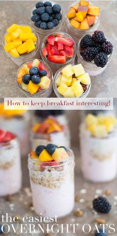 Easiest overnight oats recipe using yogurt and fresh fruits. Made in 10 minutes. Breakfast meal prep for the whole week. Never get bored of breakfast again