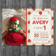 Strawberry Invitation  Strawberry Birthday by Poetryinsimplethings