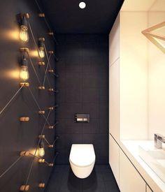 deco toilette design moderne noir et blanc avec ampoules au mur