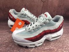 huge selection of dcf31 f1232 New Arrival Men Nike Air Max 95 Essential White Wolf Grey Pure Platinum  Team Red