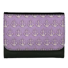 Trendy Pastel Purple and White Anchors Wallet
