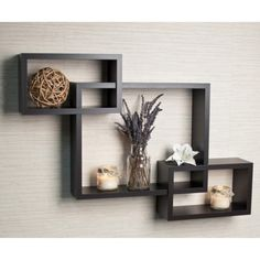 Intersecting Rectangular Wall Shelf
