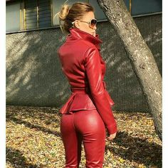 Red leather peplum jacket leather pants bottom